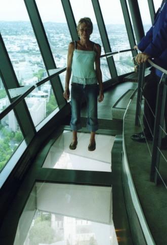 Sue walking on glass floor