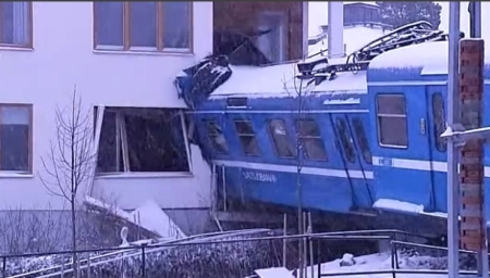 Train in building crash